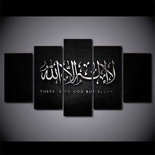 VENDISART,Leinwanddrucke,Modulare Wandkunst Wandaufkleber,5 Teiliges Wandbild,Motivierender Islam Allah Der Koran,Mit Rahmen,Größe:M/B=150Cm,H=80Cm