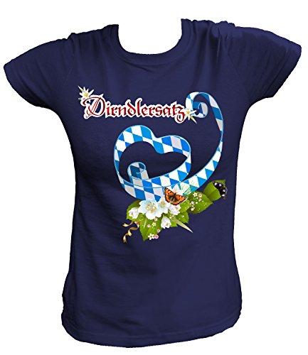 Artdiktat Damen T-Shirt - Herzschleife Blau Weiß - Dirndlersatz Größe L, Navy