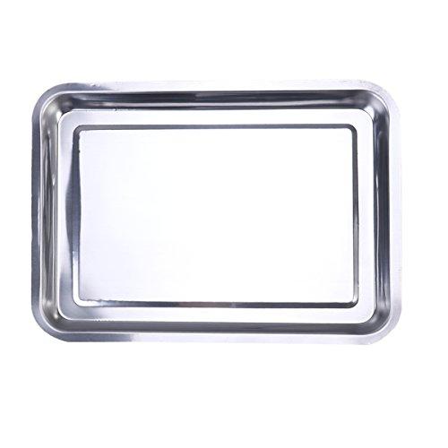 OUNONA BBQ Grillplatte Grillschale Edelstahl 36x27x2cm
