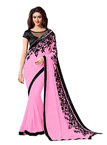 TRYme Fashion Georgette Saree With Blouse Piece (New Collection Sari W24_Pink_Free Size)
