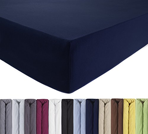 ENTSPANNO Jersey-Luxus-Spannbettlaken 140 x 200 | 160 x 220 cm für Wasser- und Boxspringbett in Dunkel-Blau/Marine aus gekämmter Baumwolle. Spannbetttuch mit Einlaufschutz bis 40 cm Hohe Matratzen