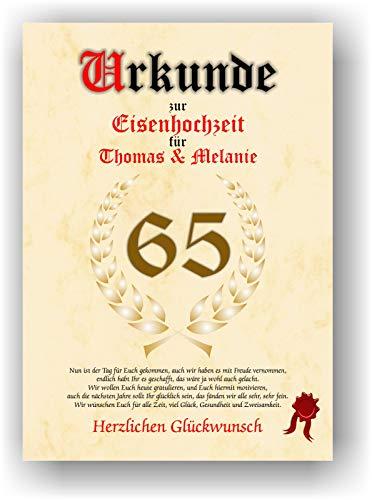 Urkunde zum 65. Hochzeitstag - Eisenhochzeit- Geschenkurkunde Eisen Hochzeit personalisiertes Geschenk Karte zum Ehrentag XXL DIN A4