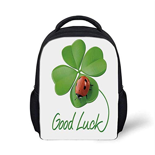 Going Away Party Decorations Stylish Backpack,Lucky Symbols Four Leaf Clover with Ladybug Irish Charm for School Travel,9.4