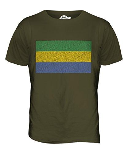 CandyMix Gabun Kritzelte Flagge Herren T Shirt Khaki Grün