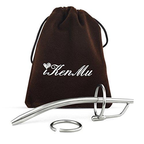 iKenMu Sex Spielzeug Edelstahl Hollow Urethral Dilator Penis-Plug mit Peniszaumzeug Cockringe(Dilator-B)