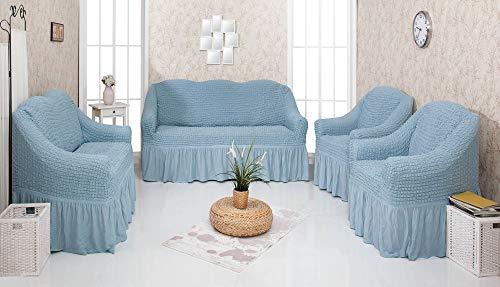 Mixibaby Sofabezug Sofahusse Sesselbezug Sitzbezug Sesselüberwurf Stretchhusse 3+ 2+ 1, Farbe:blaugrau