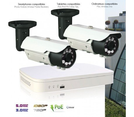 DVR Dahua - System de Video Surveillance IP mit 2 Kameras IP 3 MP Außen - kit-d158 - 2 x 2086 - Festplatte 2-TO