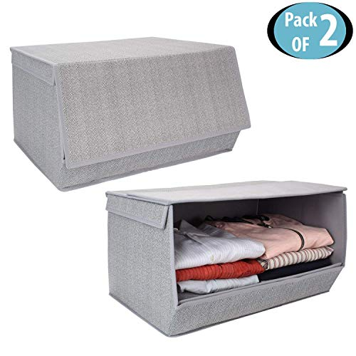 HomeStorie Non-Woven Fabric Storage Boxes for Clothes with Lid (Grey, 50 x 35 x 25 cm, Large) Pack of 2