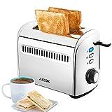 Aicok Toaster 2-Scheiben Extra Breiter Schlitz (4cm), 7 Bräunungsstufen, Auftau- und Aufknusperfunktion, Herausnehmbare Krümelschublade, aus Edelstahl mit Lebensmittelqualität, 950W