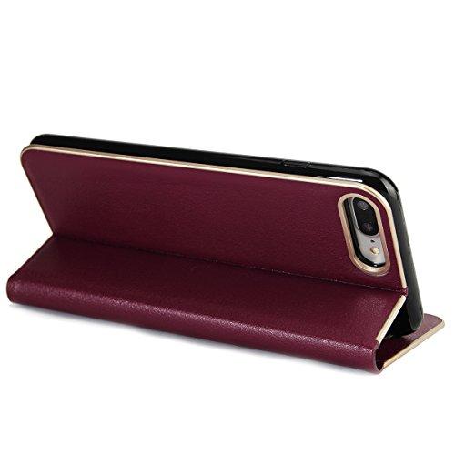 Custodia iPhone 7 Plus, iPhone 7 Plus Flip Case Leather, SainCat Custodia in Pelle Cover per iPhone 7 Plus, Anti-Scratch Book Style Protettiva Caso PU Leather Flip Portafoglio Custodia Libro Protettiv Borgogna
