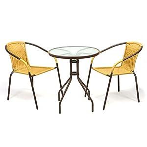 Nexos Bistroset Balkonset Rattanset - Sitzgarnitur aus Glastisch & Bistrostuhl - Stahlgestell Poly-Rattan Glasplatte - robust stapelbar - beige