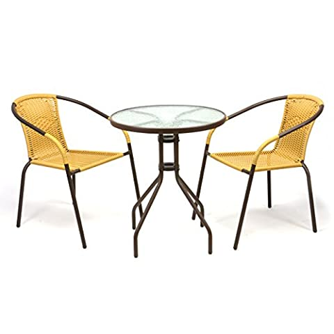 Bistroset 3er Set Bistrostuhl Sitzgruppe Gartengarnitur Poly Rattan beige Glastisch
