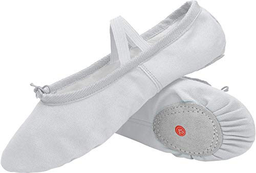 Ballett Voller Kostüm - L-RUN Mädchen Damen Kinder Canvas Dance Schuh Satin Ballett Pointe Schuhe Weiß, 7 UK Infant
