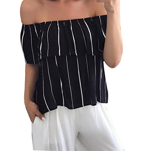 LHWY Damen Off-Shoulder-gestreifte Bluse lässigen Tops T Shirt (L) (Stretch-popeline-hemd Mädchen)