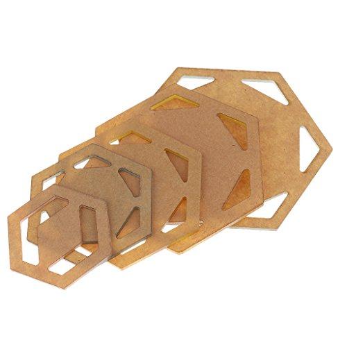Baoblaze 5 Stück Quilt Schablonen Acryl Vorlagen DIY Werkzeug für Patchworks Quilter - Hexagon (Acryl-quilt-vorlagen)