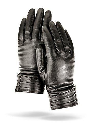 Gants d'hiver pour femme en cuir nappa, avec peluche doublure 100% cachemire et lederüberzogenen boutons Schwarz