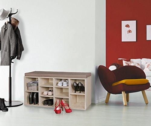 FineBuy Schuhbank Sonoma Eiche 10 Paar Schuhe & Stiefel 103,5 x 53 x 30 cm |Schuhschrank mit Sitzbank & Sitzkissen abnehmbar | Flur Schuhregal mit Bank | Kleine Holz Kommode Garderobe Aufbewahrung