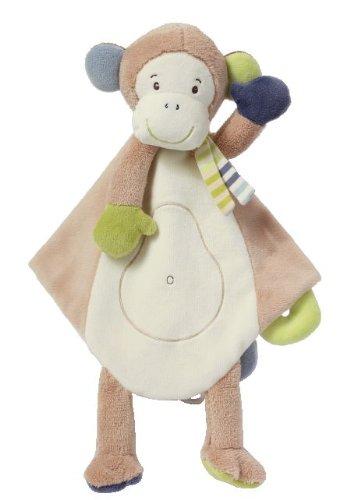 Fehn 081305 Schmusetuch Affe Deluxe / Stofftier-Schnuffeltuch mit Befestigungsring für Schnuller zum Greifen, Fühlen und Liebhaben für Babys und Kleinkinder ab 0+ Monaten