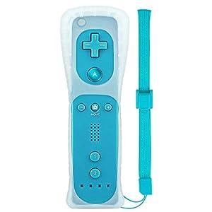 Wetoph Wii Remote Controller NK04 Wireless Fernbedienung mit kostenlosem Silikonhülle und Handschlaufe für Nintendo Wii/Wii U, Keine Motion Plus (Dritteranbieter-Produkt) -Hellblau …