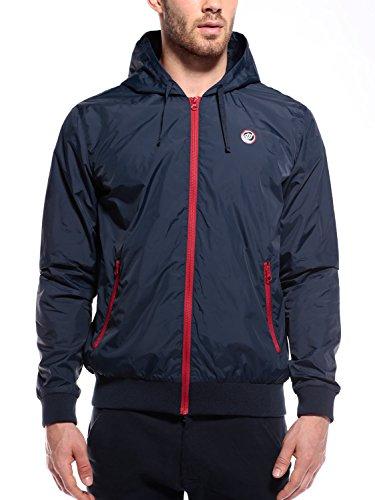 WOLDO Athletic Herren leichte Übergangsjacke Kapuzenjacke Sportjacke Trainingsjacke Jacke slim fit (L, Hanley / blau)