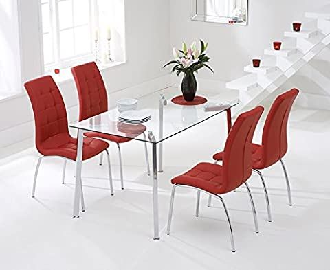 Zurich 130cm Glass Dining Table and Red Chairs Set