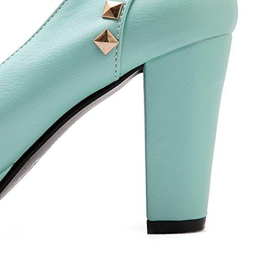 VogueZone009 Femme Tire Rond à Talon Haut Pu Cuir Mosaïque Chaussures Légeres Bleu