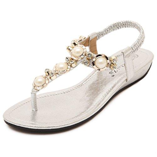 Minetom Femme Fille Perlé Chaussures de plage de Bohême-T Sangle Tongs Mode Été Des Sandales Argent