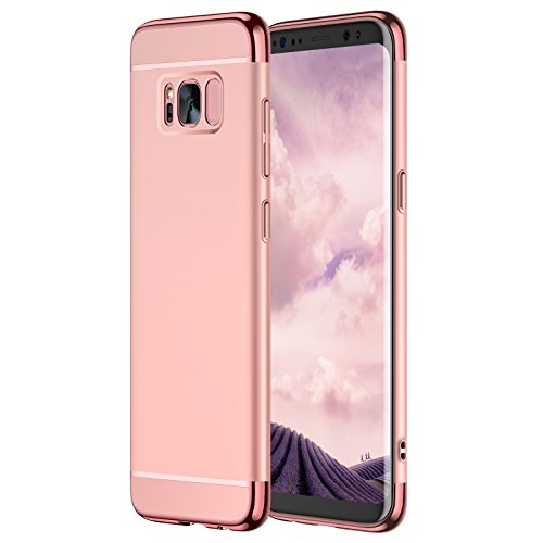 Samsung Galaxy S8 Hülle, CASEKOO Samsung Galaxy S8 Case Ultra Dünn Slim Handyhülle Harte Matte Schutzhülle Bumper Case Luxus Cover 3-Teilige 360 Grad Schutz PC Hüllen für Samsung Galaxy S8 [Unterstützt kabelloses Laden (Qi)]- Rose Gold