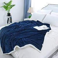 Daksh Double Layer Polar Fleece Reversible Blanket-Double-90 x100 - Dark Blue