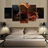 HLZLA Art coloré Moderne Affiche de Mur Affiches Jeu Image 5 pièces Cheval de feu Toile Cadre Chambre Salon