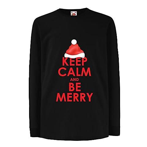 Kinder-T-Shirt mit langen Ärmeln Keep Calm and be Merry Weihnachtshemden Weihnachtsgeschenke (3-4 years Schwarz Mehrfarben)