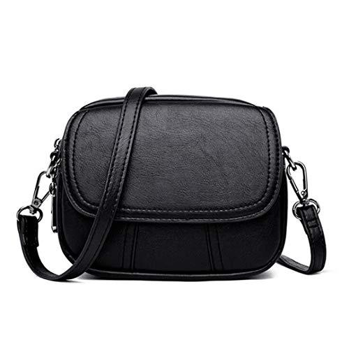 Kenneth Cole Designer-handtasche (Frauen Umhängetasche Mode Crossbody Messenger Bags Designer Pu-Leder Handtasche Black 18X14X7.5Cm)