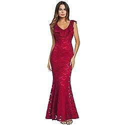 antaina Vestido de Cóctel de Dama de Honor de Bodycon de Encaje Bordado Rojo Vestido de Mujer,S