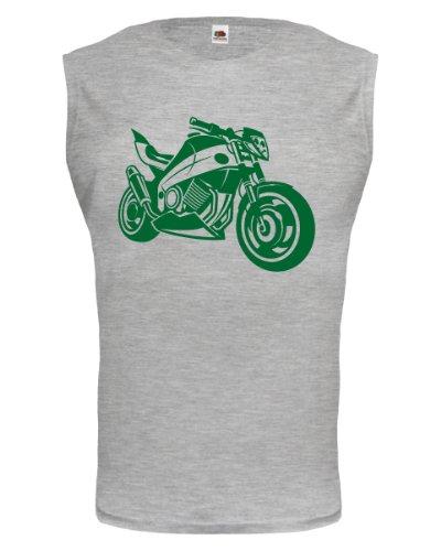 buXsbaum® Tank Top Motorbike V2 Heathergrey-Bottlegreen