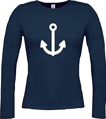 Lady-Langarmshirt: Anker, Schiff, Seemann; Farbe blau, Größe XL