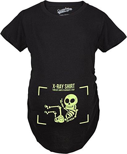 Crazy Dog Tshirts - Maternity X-Ray Turn The Lights Off Funny Pregnancy Announcement Glowing T Shirt (Black) 3XL - Damen - 3XL