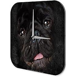 Reloj De Pared Decoración Perro Pug negro