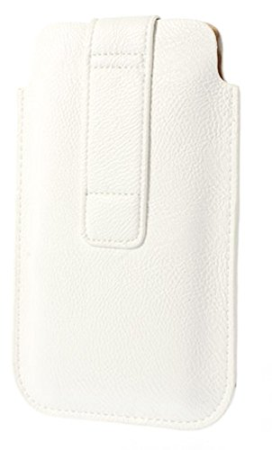 """DFV mobile - Leather pouch case pocket sleeve bag with velcro & outer bag & buckle for =>      APPLE IPHONE 6 PLUS [5,5""""] > Pink White"""