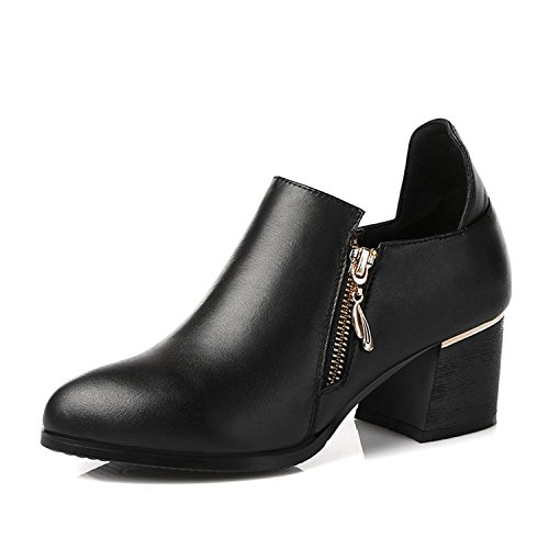 WSS chaussures à talon haut Quatre saisons tirette professionnel vintage chaussures talons chunky avec cuir chaussures femme Black