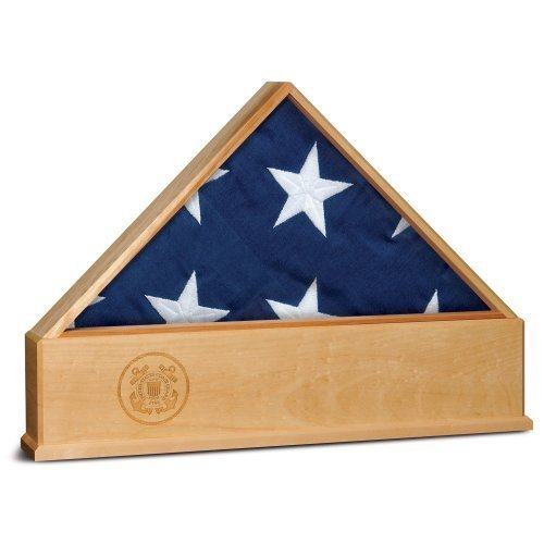 Allied Products Frame Oak U.S. Flag Display Case with Engraved U.S. Coast Guard Emblem by Allied Products (Emblem Guard Coast)