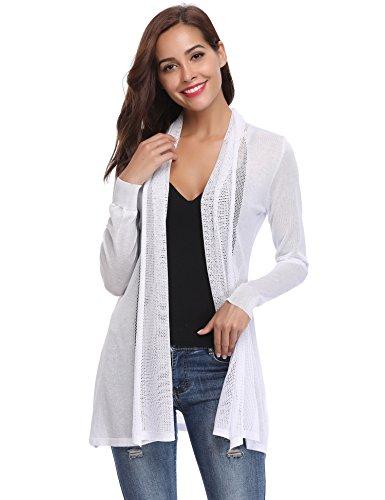 Abollria donna cardigan lungo elegante a maniche lunghe e aperto sciallato cappotto casual a maglieria golfino per primavera estate autunno