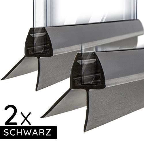 Meisterfaktur Schwarze Dichtung für Duschkabine Duschtür [2 Stück] - Pvc Leiste für 6mm bis 8mm für Glas Tür in Dusche - 100 cm Duschdichtung für Glastür - Gummi Dichtlippe für Duschkabinen