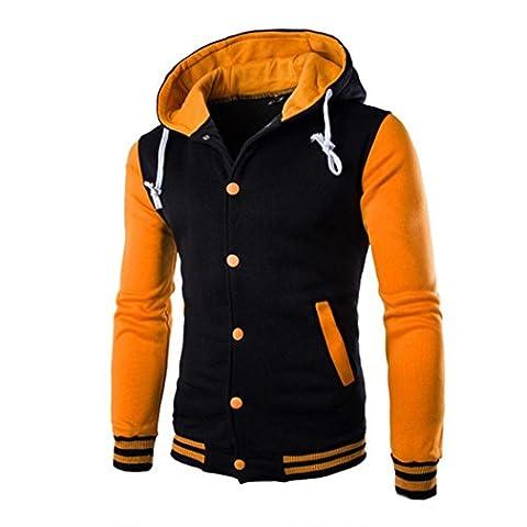 Tonsee Hommes Manteau Hiver Slim Hoodie chaud Hooded Sweatshirt (Asie XL, Jaune)