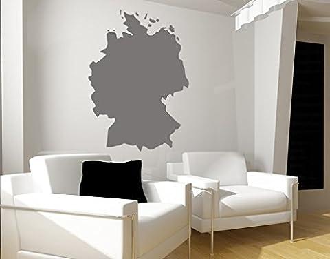 Wandtattoo No.KP41 Deutschland deutschland land karte europa geografie, Farbe:Dunkelgrün;Größe:124cm x