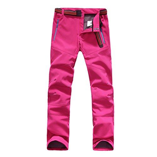 FLYGAGA Femme Softshell Doublé Polaire Pantalon Coupe-Vent Imperméable Outdoor Sport Camping Randonnée Escalade Pantalon