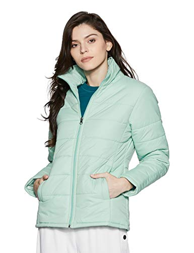 Qube By Fort Collins Women's Nylon Bomber Jacket (39232 SMU_Sea Green_L)