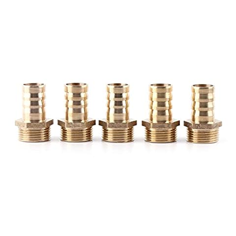 5pcs Male Brass Coupler Splicer Brass Hose Pipe Pagoda Shaped Pipe Thread Fittings Quick Connector Joint(19-06 )