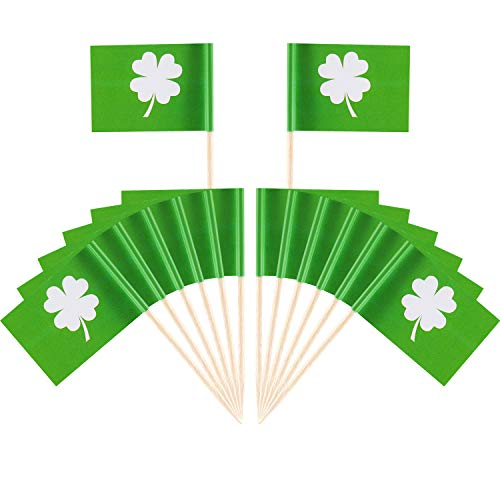 Boao 200 Stücke St. Patricks Day Kuchen Topper Shamrock Cupcake Topper Picks Zahnstocher Flagge für Irish Party Supplies Kuchen Dekoration