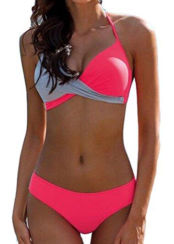 AHOOME Damen Bikini Push Up Gepolstert Streifen rayures Triangel Brasilianische Bademode Bikini-Sets(Rose Rouge,S)