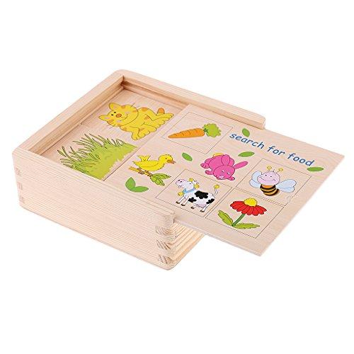 MagiDeal Montessori Lernspielzeug Puzzle Spiel- Was essen die Tiere gern ?
